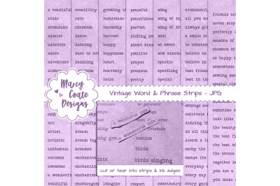 Lavender dyed Word Strips bundle with 7 pages