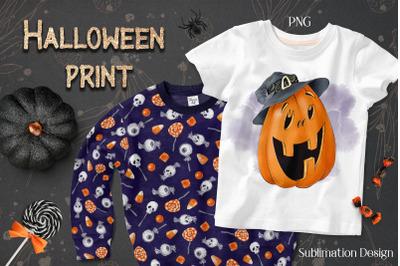 Halloween Pumpkin sublimation. Design for printing.