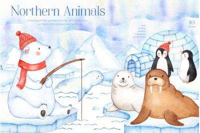 Northern Animals Watercolor Clip Art