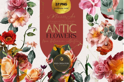 Antic flowers & seamless patterns 37 PNG