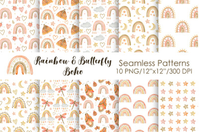 Watercolor Rainbow & Butterfly Seamless Patterns
