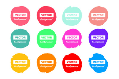 Colorful round brushstroke paint stains isolated on white background f