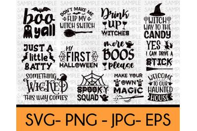 Halloween SVG Bundle, 12 Designs