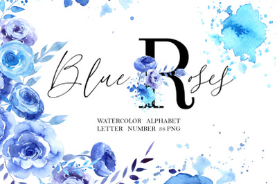 Blue Roses Floral Alphabet
