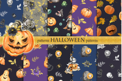 Halloween pumpkin patterns. Seamless patterns for wrapping paper