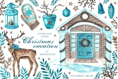 Christmas vacation watercolor clipart. Farmhouse christmas clipart.