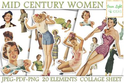 Vintage Junk Journal Mid Century Women Printable Ephemera