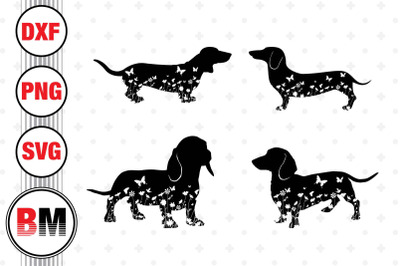 Dachshund Floral SVG, PNG, DXF Files