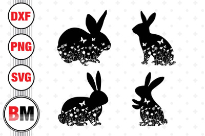Easter Bunny Floral SVG, PNG, DXF Files