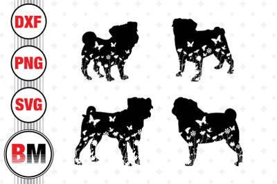 Pug Floral SVG, PNG, DXF Files