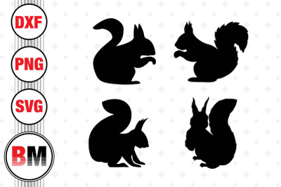Squirrel Silhouette SVG, PNG, DXF Files