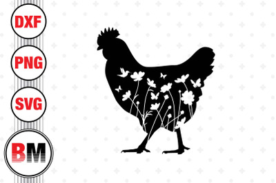 Chicken Floral SVG, PNG, DXF Files