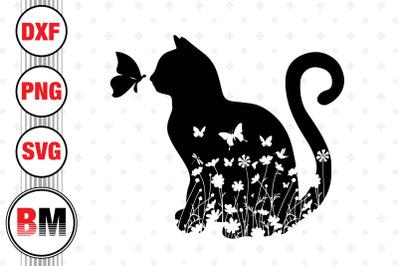 Cat Floral SVG, PNG, DXF Files