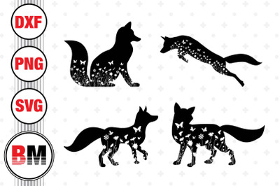 Fox Floral SVG, PNG, DXF Files