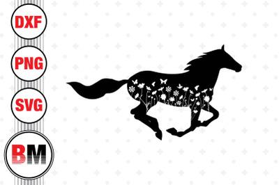 Horse Floral SVG, PNG, DXF Files