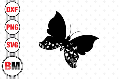 Butterfly Floral SVG, PNG, DXF Files