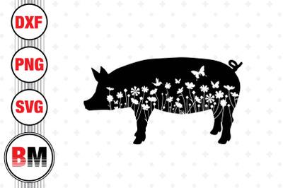 Pig Floral SVG, PNG, DXF Files