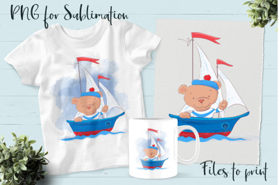 Cute Bear sublimation. Design for printing.