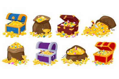 Cartoon pirate wooden chests, fabric bags with golden treasures and ge