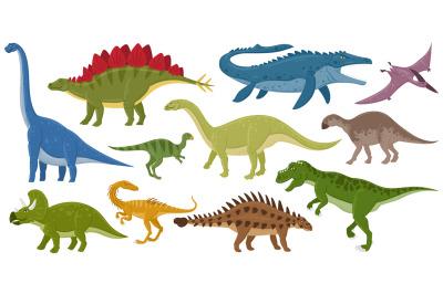 Cartoon dinosaurs, ankylosaurus, brontosaurus, stegosaurus extinct rap