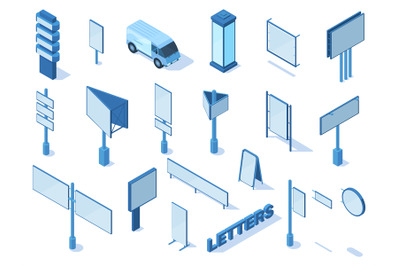 Isometric outdoor street advertising media billboards and banners. Adv