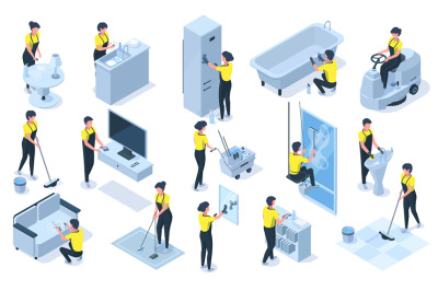 House cleaning team isometric professional characters. Detergents, cle