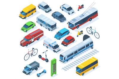 Isometric public city transport, scooter, bus, fire engine. Public mun