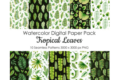 Watercolor Tropical leaves seamless patterns