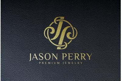 Embossed Gold Logo Mockup on black Leather