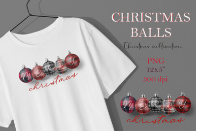 Christmas balls in a checkered plaid. Sublimation