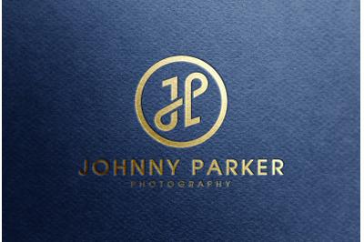 Gold foil Logo Mockup on Blue Paper