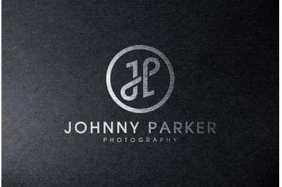 Silver foil Logo Mockup on Black Paper