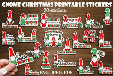 Gnome Christmas Stickers. Christmas sticker bundle. 20 printable stick