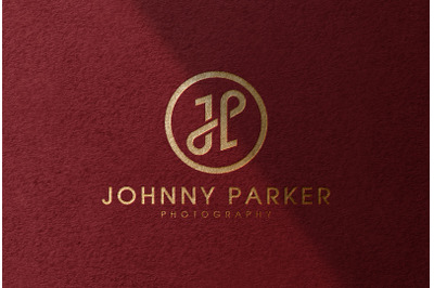 Gold Foil Logo Mockup on Red Textured Paper