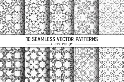 10 seamless arabic geometric vector patterns
