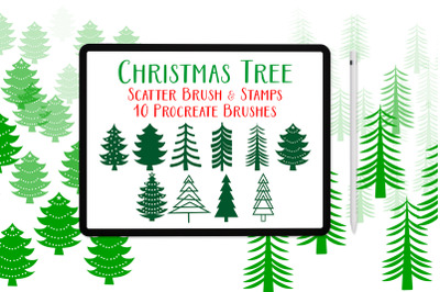 Procreate brushes for Christmas trees, Procreate stamps and scatter