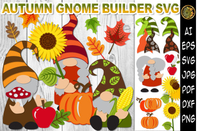 Autumn Gnome Builder SVG Clipart Layered Design FALL Elements