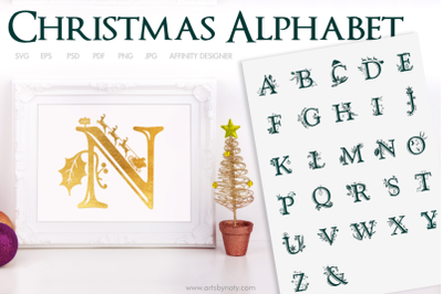 Christmas Alphabet SVG for crafts and sublimation.
