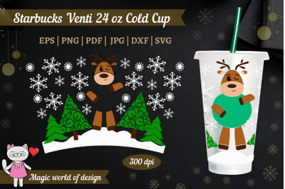 Christmas Cute deer svg, for Starbucks Cold Cup 24 svg