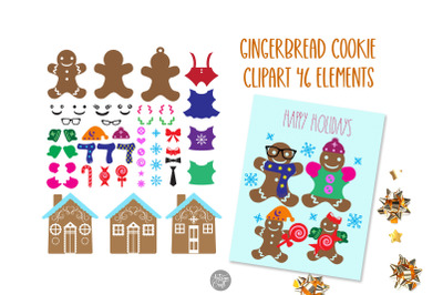 Gingerbread clipart with gingerbread cookie and gingerbread house