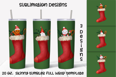 Christmas socks sublimation design. Skinny tumbler wrap design
