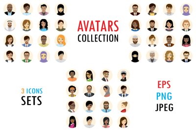 People avatars icons flat collection