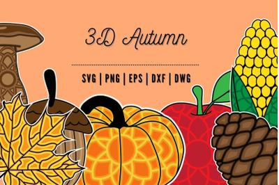 3D Autumn SVG Bundle