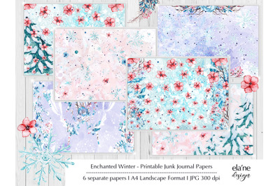 Enchanted Winter Printable Junk Journal Pages