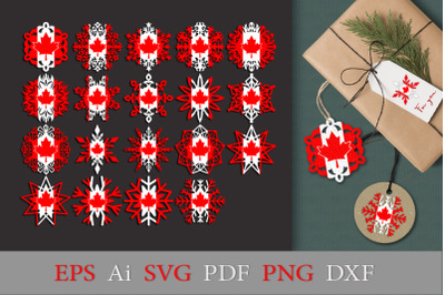 Snowflakes with the flag of Canada