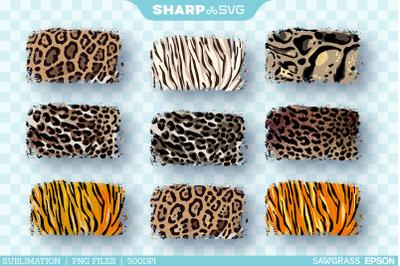Distressed Rectangle Patterns PNG | Leopard Sublimation Bundle