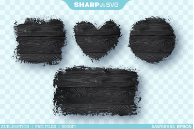 Distressed Black Wood 1 Sublimation PNG | Square Heart Circle Rectangl