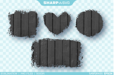 Distressed Black Wood 2 Sublimation PNG Square Heart Circle