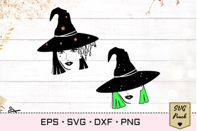 Witch svg, Witch head with hats and pendants svg