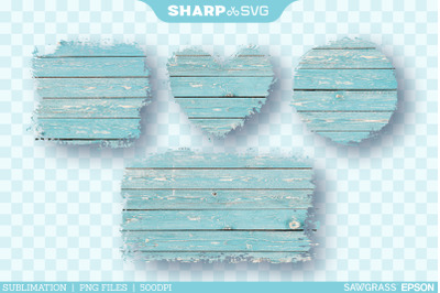 Distressed Cyan Wood Sublimation PNG | Square Heart Circle Rectangle